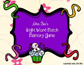 Sight Word Match Memory Game