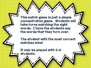 Sight Word Match-Up First Grade Edition