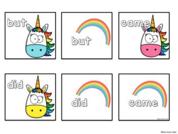 Sight Word Match Ups - Unicorns