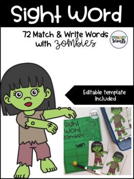 Sight Word Match & Write - Zombies