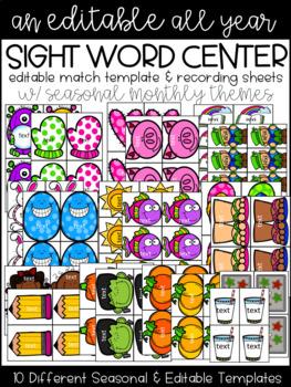 Year Long Sight Word Matching - Editable Templates