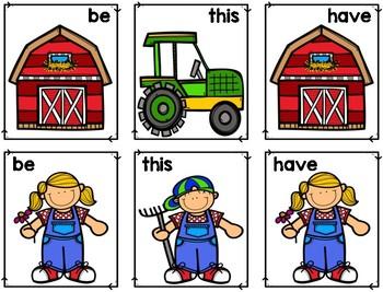 Sight Word Matching: Farm