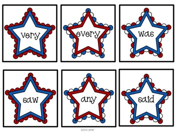 Sight Word and Alphabet Matching Game- Red White and Blue