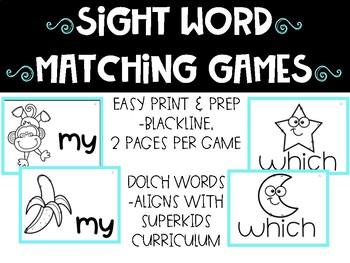 Sight Word Matching Game Bundle