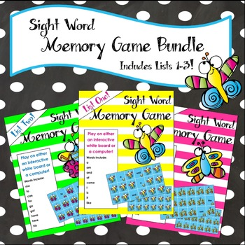 Sight Word Matching Game Bundle - For Whiteboard or Computer