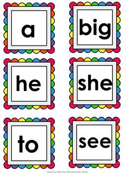 Free!  Sight Word Matching Game- Rainbow Theme