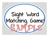 Sight Word Matching Game Sample