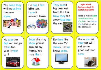 Sight Word Matching Game (set 2) with Student Tracking Sheet and Lists