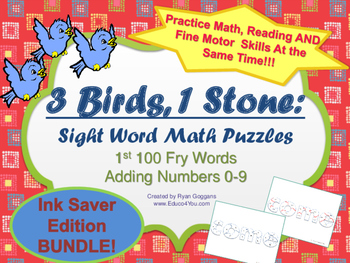 BUNDLE! Sight Word Math Puzzles- 1st 100 Fry Words + Adding 0-9 - Ink Saver