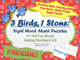 FREE Sight Word Math Puzzles- 1st 100 Fry Words + Adding N