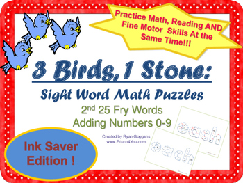 Sight Word Math Puzzles -2nd 25 Fry Words + Adding 0-9