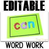 Sight Word Cards Editable Word Games Playdough Mats
