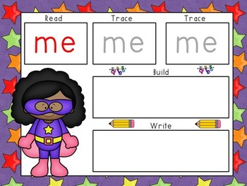 Sight Word Mats- CUSTOM SET of 100 Words- Super Hero Theme CHOOSE YOUR OWN WORDS
