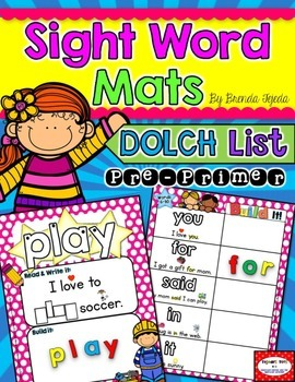 Sight Word Mats: DOLCH Pre-Primer