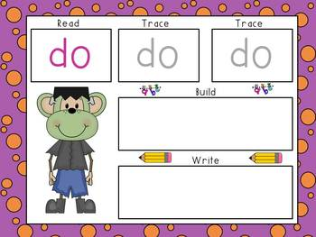 Sight Word Mats- Dolch Primer Words- Halloween Monkeys Theme