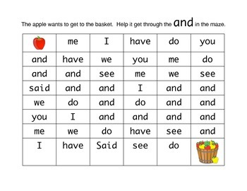 Sight Word Maze (And)