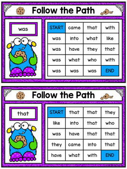 Sight Word Maze Cards - Monster Cookie Mazes - Editable