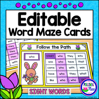 Sight Word Maze Cards - Spring Easter Bunny Mazes - Editable