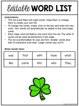 Sight Word Maze Cards - St  Patrick's Day Mazes - Editable