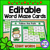 Sight Word Maze Cards - St. Patrick's Day Mazes - Editable