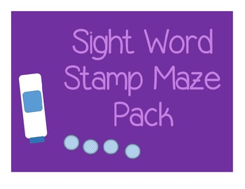 Sight Word Maze Pack