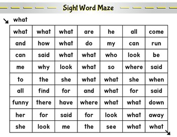 Sight Word Mazes