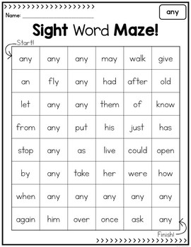 Sight Word Mazes - First Grade