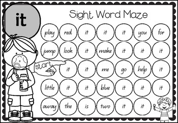 Sight Word Mazes - Pre Primer Edition