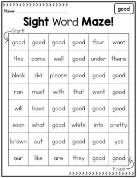 Sight Word Mazes - Primer