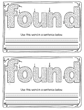 Sight Word Practice Worksheets