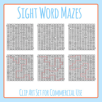 Sight Word Mazes (the, and, for) - Reading Practice Clip Art Set Commercial Use