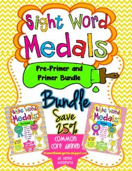 Sight Word Medals Pre-Primer & Primer (BUNDLE PACK)