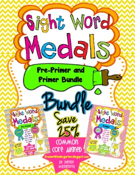 Sight Word Medals Pre-Primer & Primer (BUNDLE PACK)