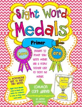 Sight Word Medals Primer Edition