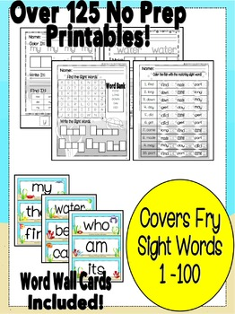 Sight Word Mega Bundle - Fry Word List 1 - 100