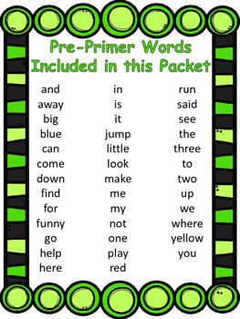 Pre-Primer Sight Words Mega Pack