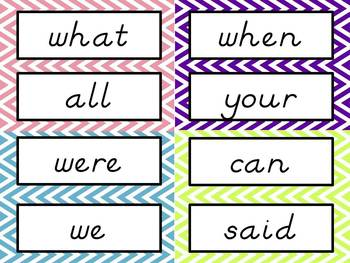 Sight Word Cards: Chevron, D'Nealian Font (Dolch & Fry)