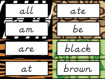 Sight Word Cards: Jungle Themed, D'Nealian Font (Dolch & Fry)