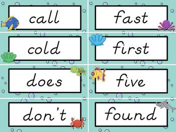 Sight Word Cards: Ocean Themed, D'Nealian Font (Dolch & Fry)