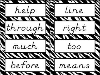 Sight Word Cards: Zebra Print, D'Nealian Font (Dolch & Fry)