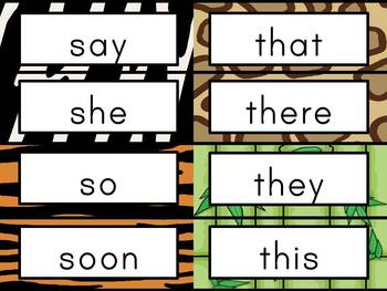 Sight Word Cards: Jungle Themed (Dolch & Fry)