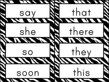 Sight Word Cards: Zebra Print (Dolch & Fry)