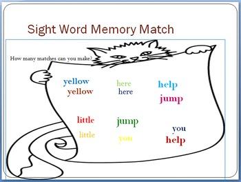 Sight Word Memory Match