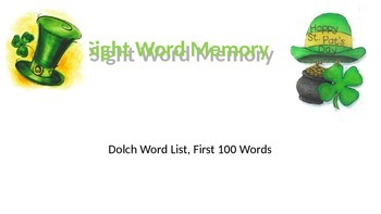 Sight Word Memory - 100 Dolch Words St Patrick's Day Theme