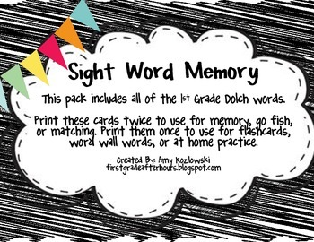 Sight Word Memory: 1st Grade Dolch Words