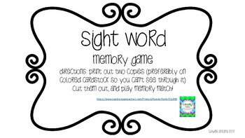 Sight Word Memory