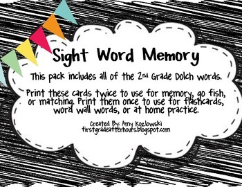 Sight Word Memory: 2nd Grade Dolch Words