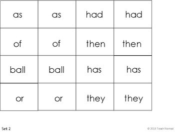 Sight Word Memory - 50 Word List