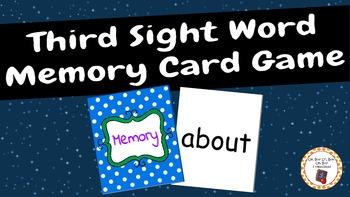 Sight Word Memory Card Game - Third Grade
