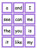 Sight Word Memory Card Game